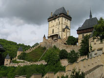 Karlstein Castle. Home of Charles IV and the crown jewels, constructed in 1348 in the Bohemia, Czech Republic Stock Photo
