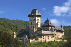 Karlstein castle. Karlstejn Castle, founded by Charles IV, June 10, 1348. It was built in High Gothic style, not only as an imperial residence, but mainly as a Royalty Free Stock Photos
