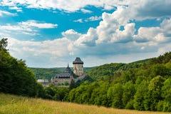Karlstejn城堡,查理四世哥特式城堡,捷克共和国 库存图片