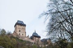 Karlstejn -著名哥特式城堡 免版税库存照片