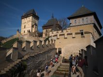 Karlstejn Castle 2019, Czech Republic. Karlstejn castle is a large Gothic castle founded 1348 CE by Charles IV, Holy Roman Emperor-elect and King of Bohemia. The stock image