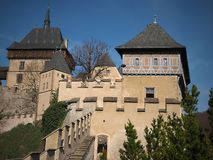 Karlstejn Castle 2019, Czech Republic. Karlstejn castle is a large Gothic castle founded 1348 CE by Charles IV, Holy Roman Emperor-elect and King of Bohemia. The royalty free stock image