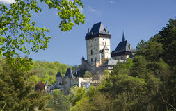 Karlstejn Castle - Czech Republic. Royal gothic castle Karlstejn founded 1348 by Charles IV, Holy Roman Emperor-elect and King of Bohemia. Czech Republicnn Stock Photo