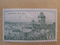 Karlstejn castle - Czecholosvakian stamp Royalty Free Stock Images