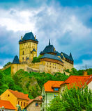 Karlstejn castle on green hill, Prague. Czech Republic Stock Photography
