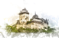 Karlstejn castle on green hill, Prague Stock Photo