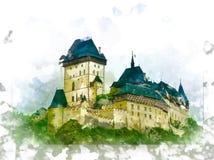 Karlstejn castle on green hill, Prague Stock Photography