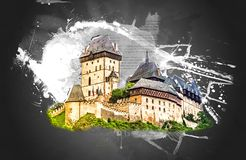 Karlstejn castle on green hill, Prague Stock Photos