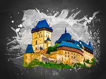 Karlstejn castle on green hill, Prague Stock Image