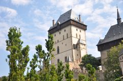 Karlstejn castle, situated in Czech Republic stock photos