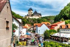 KARLSTEJN, CZECH REPUBLIC - SEPTEMBER 03, 2016: Restaurants and Royalty Free Stock Images