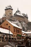Karlstejn en el invierno, República Checa Fotografía de archivo