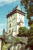 Karlstejn is a large gothic castle founded 1348 by Charles IV, r Stock Photo