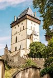 Karlstejn is a large gothic castle founded 1348 by Charles IV, y Stock Photography