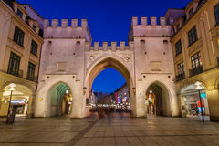Karlstor Gate and Karlsplatz Square in the Evening, Munich Stock Images