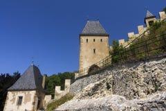 Karlštejn Castle structures and towers, Czech republic Stock Images