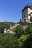 Karlštejn Castle tower and defensive walls Royalty Free Stock Photos