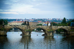 Karluv most bridge in Prague. View of central bridge Karluv most in Prague with in background Stare Mesto, Czech Republic Royalty Free Stock Photography