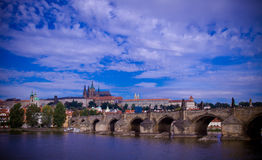 Karluv most bridge in Prague. View of central bridge Karluv most in Prague with in background the castle, Czech Republic Royalty Free Stock Photos