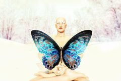 Karma.The Butterfly Effect & Its Cleaning. A realistic depiction of a buddha sitting in meditation with a big butterfly in front of the chest Royalty Free Stock Images