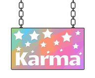 Karma Colorful Signboard. Karma concept image with text written over signboard having colorful background Royalty Free Stock Images