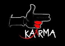 Karma concept: finger gun on blackboard. Karma concept: finger gun to mimic a handgun Stock Image