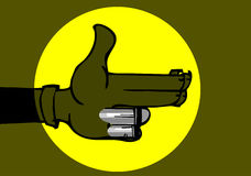 Karma concept: finger gun to mimic a handgun. Finger gun or hand gesture to mimic a handgun Stock Images