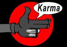 Karma concept: finger gun to mimic a handgun. Finger gun or hand gesture to mimic a handgun Royalty Free Stock Photos