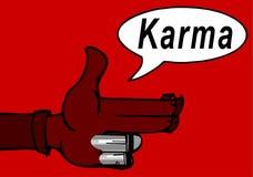 Karma concept: finger gun to mimic a handgun. Finger gun or hand gesture to mimic a handgun Royalty Free Stock Photo