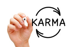 Karma Cycle Arrows Concept. Hand drawing Karma Cycle concept with black marker on transparent wipe board Stock Image