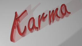 Karma - 3D rendering. The word `Karma` written with reddish semi-transparent 3D letters, laying on white plane. The letters send soft shadows to the plane Stock Images