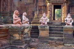 Karma figures. Karma sutra figures in the Banteay Srey temple cambodia Stock Image