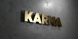 Karma - Gold sign mounted on glossy marble wall  - 3D rendered royalty free stock illustration. This image can be used for an online website banner ad or a Royalty Free Stock Photography