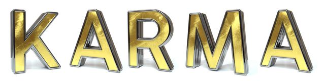 Karma golden text. Karma 3d rendered gold and silver color text on white Stock Photography