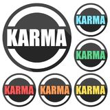 Karma icons set with long shadow. Vector icon Stock Photos