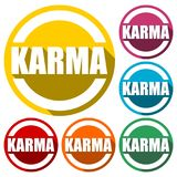 Karma icons set with long shadow. Vector icon Stock Photo