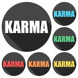 Karma icons set with long shadow. Vector icon Royalty Free Stock Photography