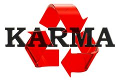Karma inscription with recycle symbol, 3D rendering vector illustration
