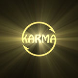 Karma letter Buddhism sign light flare Royalty Free Stock Photo