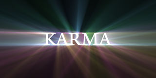 Karma light speed flare. Karma word shine with powerful halo. Speedy motion effect. Symbolic religious background Royalty Free Stock Photography