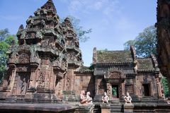 Karma sutra in Banteay Srey temple cambodia Royalty Free Stock Photos