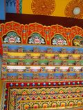 Karma Tharjay Chokhorling Tibetan Monastery Bodh Gaya India. Detail of lintel decorative painting at the Karma Tharjay Chokhorling Tibetan Monastery, Buddhist stock images
