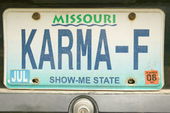 Karma vanity license plate in Bourbon, Missouri Stock Images