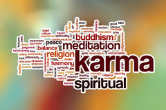 Karma word cloud with abstract background Royalty Free Stock Images
