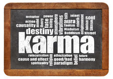 Karma word cloud on blackboard Royalty Free Stock Image