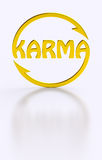 Karma word cycling golden symbol. Isolated Karma sign with cycling arrows meaning cause and effect, action reaction, causality theory, what comes around goes royalty free illustration
