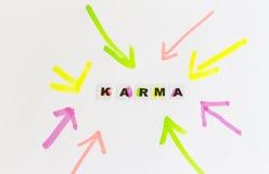 Karmaord som är skriftligt i svarta bokstäver Arkivfoto