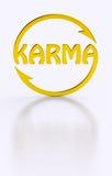 Karmawort, das goldenes Symbol radfährt Stockbild
