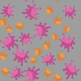 Karmazynów i pomarańczowej kleks kreskówki bezszwowy wzór 627 Fotografia Royalty Free