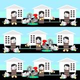 Karmazynki, dziecko kurczaki & koguty, ilustracji
